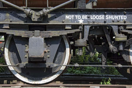 Close-Up Of Train Wheels,North Yorkshire,England photo