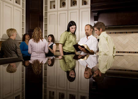 30s adult: Bible study groups Stock Photo
