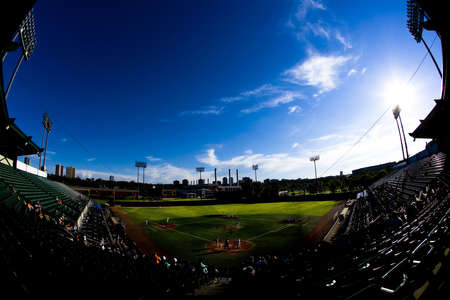 Fish eye view of a baseball stadium