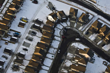Aerial view of neighborhood in winter Stock Photo