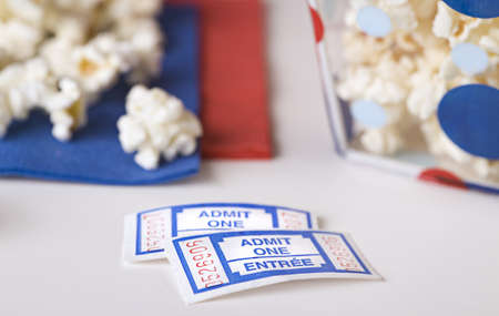 Popcorn bowl with movie tickets   photo