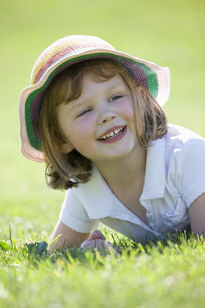 brown haired girl: Girl smiling