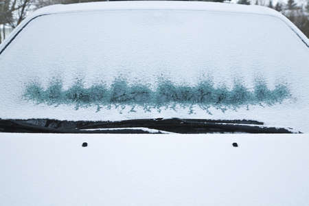 Frosted car windshield photo