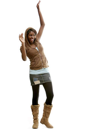 teenagers only: Girl with mini skirt and hoodie Stock Photo