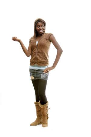 african student: Ragazza con una minigonna e hoodie