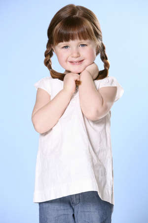 colleen: Portrait of little girl with braids Stock Photo