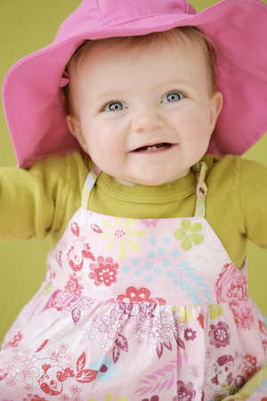 pink hat: Happy baby girl in pink hat
