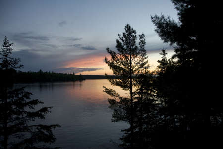 trees photography: Lake of the Woods, Ontario, Canada; Majestic sunset over placid lake