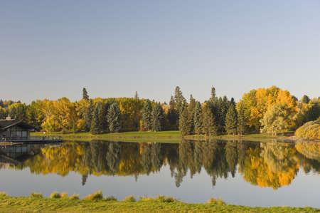 Hawrelak Park, Edmonton, Alberta, Canada; Weergave van herfst bomen
