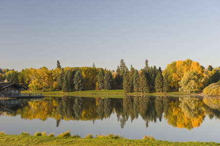 Hawrelak Park, Edmonton, Alberta, Kanada; Blick auf Herbstbäume