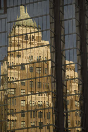 highrises: Reflection in glass building, Vancouver, British Columbia, Canada