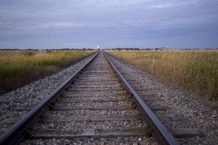 Prairie railroad tracks, Manitoba, Canada