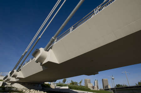 riel: Detail of pedestrian bridge, Esplanade Riel, Winnipeg, Manitoba, Canada
