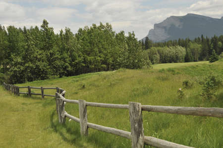 Rural fence, Canmore, Alberta, Canada Stock Photo - 7551729