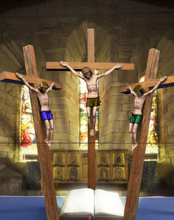 Jesus on the cross, Holy Island, Bewick, England