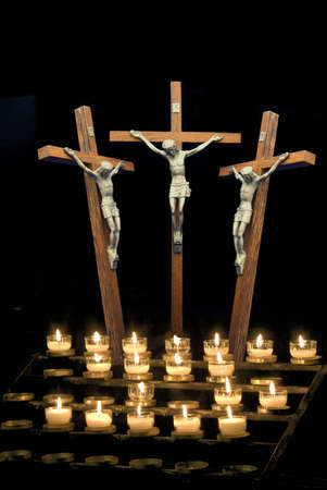Three crosses depicting crucifix with candles Stock Photo - 7551664