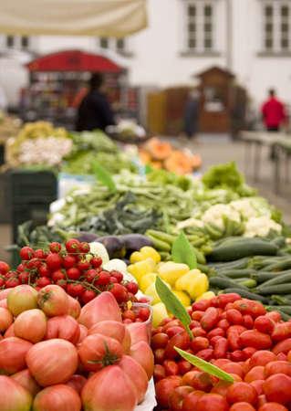 slovenia: Produce Market, Ljubljana, Slovenia; Fruit and vegetable stalls displaying colorful produce