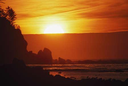 nightfall: Sunset on the rugged edge of Ouzette Island, coast of Olympic Peninsula, Washington, USA