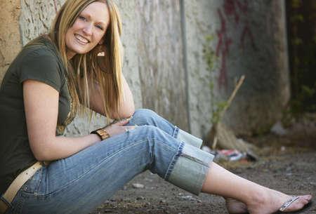 flops: Woman in alley