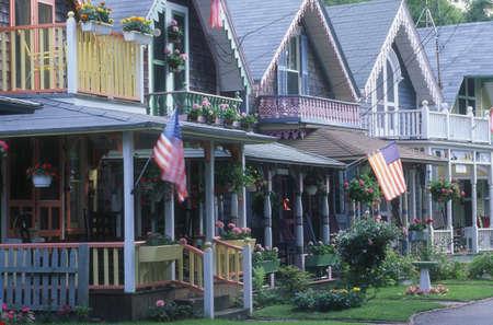 A row of gingerbread wooden houses, Oak Bluffs, Martha's Vineyard, Massachusetts, U.S.A. Stock Photo - 7551885