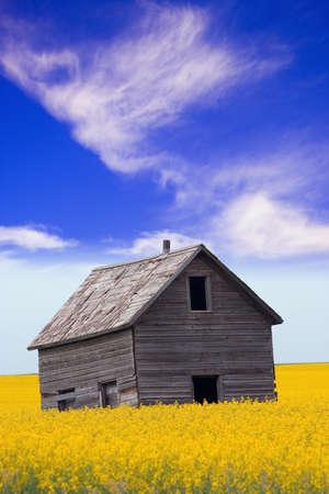 An abandoned farm building
