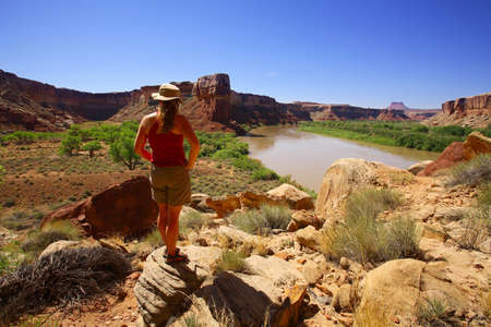 Woman observing canyon Stock Photo - 7559213