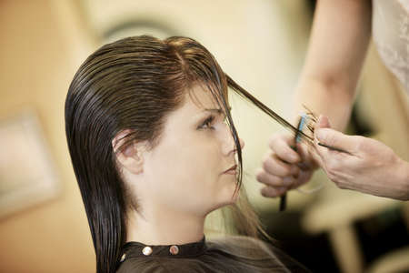 hair stylist: Woman having her hair cut LANG_EVOIMAGES