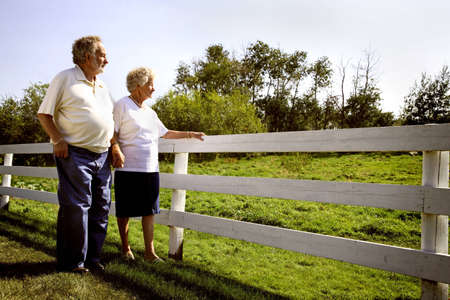 Couple looking over fence Stock Photo - 7551713
