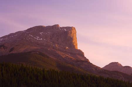 Roche Miette mountain in Jasper at sunset Stock Photo - 7559338