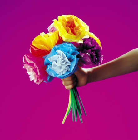 Bouquet of flowers with pink background Banco de Imagens