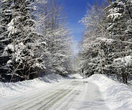 Rural road in winter, Eastern Townships, Quebec, Canada