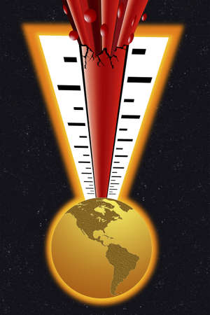 Thermometer bursting above the world Stock Photo - 7559236