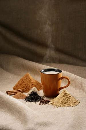 tea hot drink: Coffee mug with spices