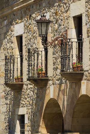 balustrades: Decorative balconies in Escalante, Cantabria, Spain