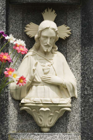 northern spain: Carved stone image of Christ in niche, Northern Spain