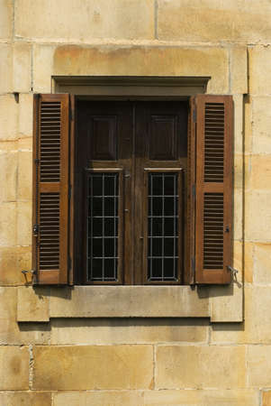 A window with shutters in Elor, The Basque Country, Spain Stock Photo - 7559440