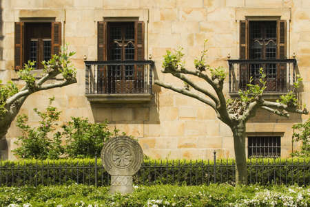 A Basque Coat of Arms in front of palace, Elor, Basque Country, Spain Stock Photo - 7559470