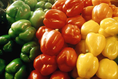 Red, yellow and green peppers 免版税图像