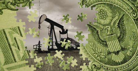 compilations: A composite of an oil well and an American dollar bill LANG_EVOIMAGES
