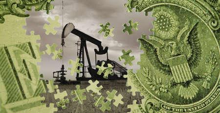 puits de petrole: Un composite d'un puits de p�trole et une facture dollar am�ricain