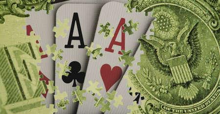 Verbund aus einem US-Dollar-Schein und Spielkarten  Standard-Bild - 7559425