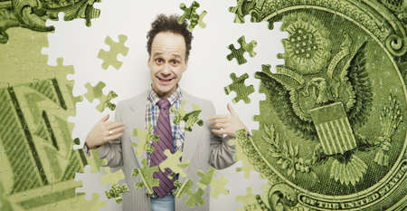Composite of a US dollar bill and a goofy business man Stock Photo - 7559504