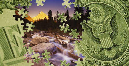 compilations: Composite of a US dollar bill and a mountain scene