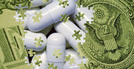 Composite of a US dollar bill and pills Imagens