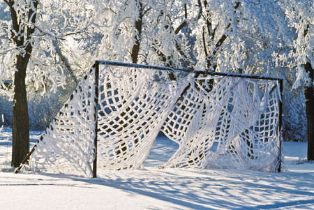 soccer net: Soccer net in winter
