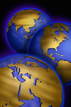 unmarked: Three globes with unmarked maps of different continents Stock Photo