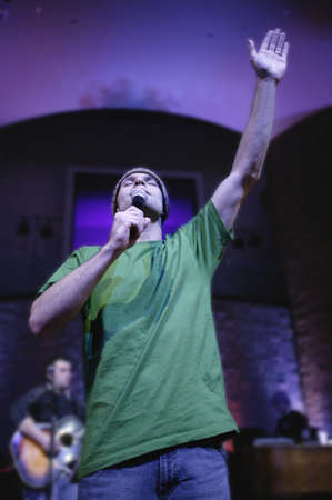 Man singing with microphone