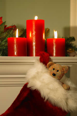 Fireplace mantle decorated at Christmas photo