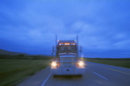 A semi at night Stock Photo - 8242253