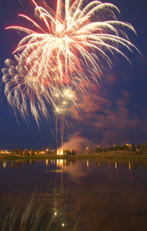 carson ganci: Fireworks display On Canada Day Sherwood Park Alberta Canada Stock Photo